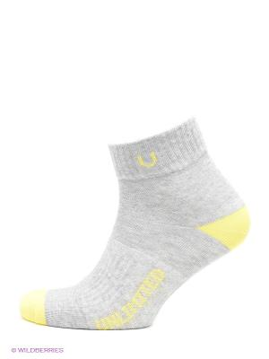Носки спортивные 5 пар Unlimited. Цвет: серый меланж, желтый