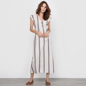 Платье-миди в полоску R édition. Цвет: набивной рисунок