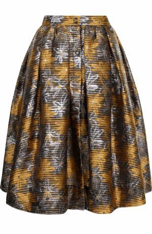 Жаккардовая юбка-миди с широким поясом sara roka. Цвет: желтый