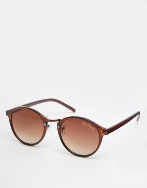 Black Phoenix Круглые солнцезащитные очки в коричневой оправе. Цвет: коричневый