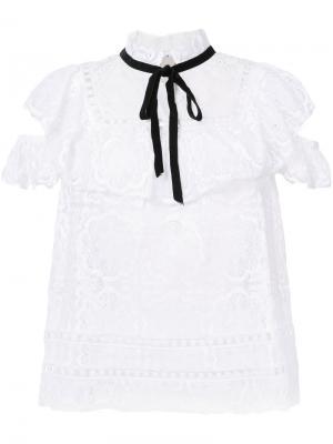 Кружевная блузка с оборками Sea. Цвет: белый