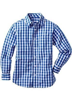 Рубашка в клетку (лазурный/белый клетку) bonprix. Цвет: лазурный/белый в клетку