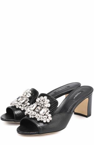 Кожаные мюли Keira с кристаллами Dolce & Gabbana. Цвет: черный