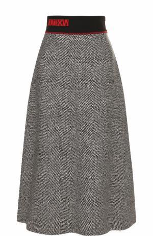 Шерстяная юбка-миди с контрастным широким поясом Fendi. Цвет: серый