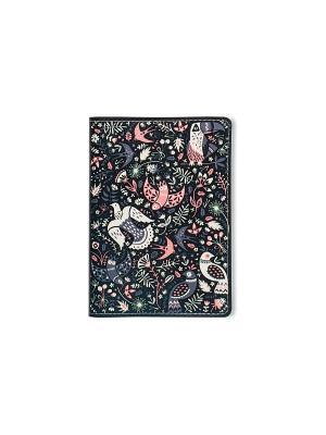 Обложка для паспорта  Фиолетовые птички TonyFox. Цвет: черный, синий, фиолетовый, белый