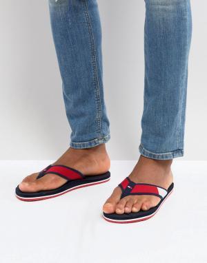 Tommy Hilfiger Красно-бело-синие пляжные шлепанцы. Цвет: мульти