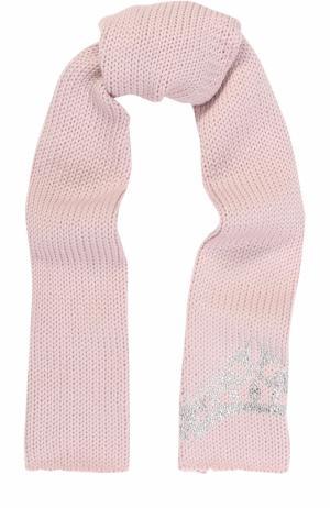 Шерстяной шарф со стразами Catya. Цвет: светло-розовый