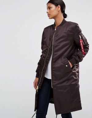 Alpha Industries Удлиненное пальто с золотистой молнией MA-1. Цвет: коричневый
