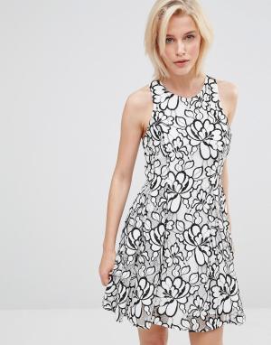 Greylin Кружевное платье с цветочным узором Bruna. Цвет: белый