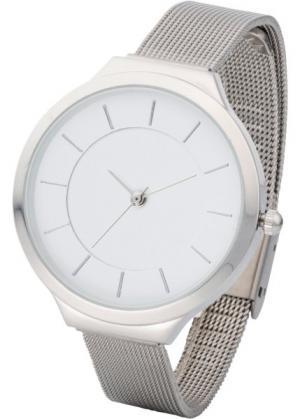 Металлические часы на браслете из смешанного материала (серебристый) bonprix. Цвет: серебристый