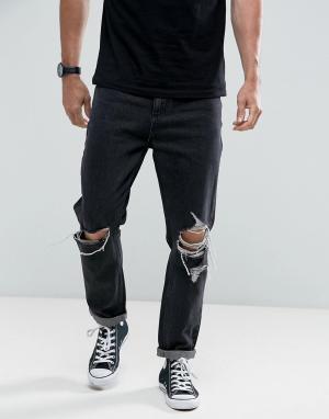 Rollas Черно-белые выбеленные джинсы с рваной отделкой. Цвет: черный
