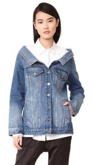 Длинный пиджак из денима Robert Rodriguez. Цвет: средней затертости