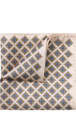 Шелковый платок с узором Eton. Цвет: кремовый