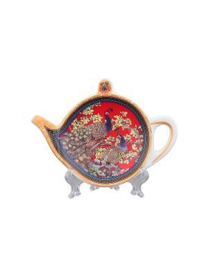 Подставка под чайный пакетик Павлин на красном Elan Gallery. Цвет: красный, желтый, коричневый