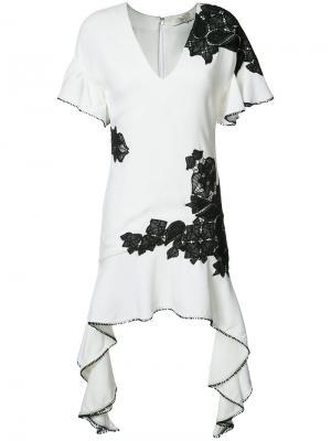 Струящееся платье с контрастными кружевами Jonathan Simkhai. Цвет: белый