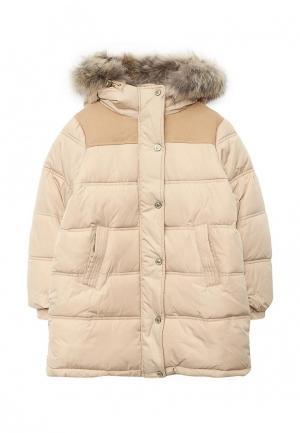 Куртка утепленная Gulliver. Цвет: бежевый