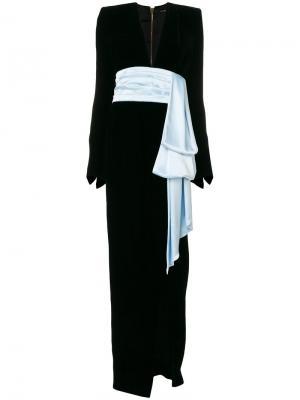 Вечернее платье с контрастным пояосм Alexandre Vauthier. Цвет: чёрный