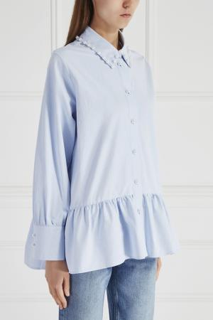 Хлопковая рубашка Mixer. Цвет: голубой