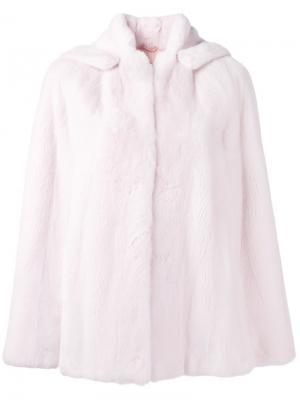 Норковая шуба-кейп Bunny Liska. Цвет: розовый и фиолетовый