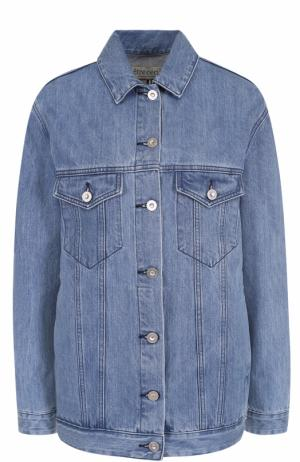 Джинсовая куртка с контрастной отделкой на спинке Etre Cecile. Цвет: голубой