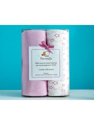 Комплект пеленок Pecorella Sweet pink - 2шт. (для девочки). Цвет: бежевый, розовый
