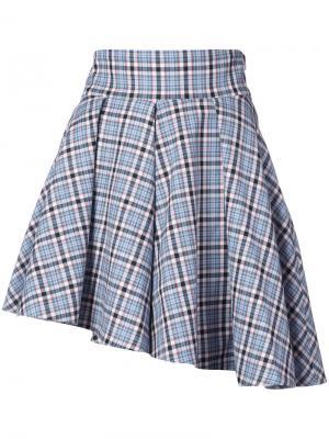 Асимметричная клетчатая мини-юбка Petersyn. Цвет: синий