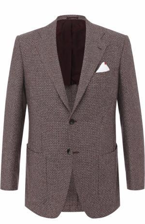 Кашемировый однобортный пиджак Kiton. Цвет: бордовый