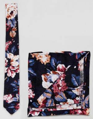 MOSS BROS Комплект из галстука и платка для нагрудного кармана с цветочным принт. Цвет: темно-синий