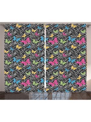 Комплект фотоштор для гостиной Бабочки на черно-белом фоне, плотность ткани 175 г/кв.м, 290*265 с Magic Lady. Цвет: черный, голубой, розовый