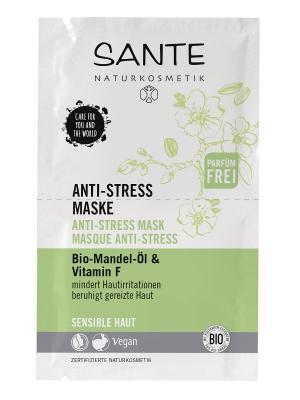 Маска анти-стресс для чувствительной кожиc маслом Миндаля и Витамином F Sante. Цвет: зеленый