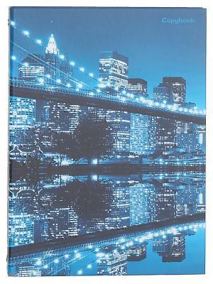 Тетрадь на кольцах 120 листов.Ночной город Канц-Эксмо. Цвет: синий, белый, голубой