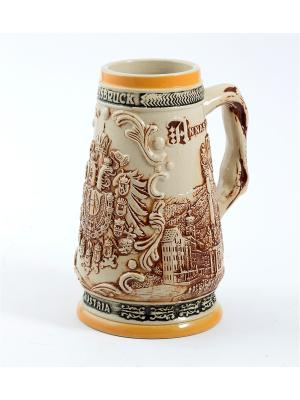 Пивная кружка коллекционная Австрия BURGER. Цвет: коричневый, оранжевый, темно-бежевый
