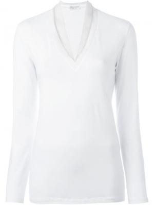 Вязаная блузка c V-образным вырезом Brunello Cucinelli. Цвет: белый