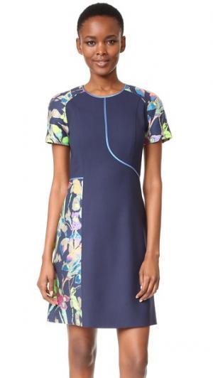 Платье-футляр с цветочным рисунком Jason Wu. Цвет: голубой