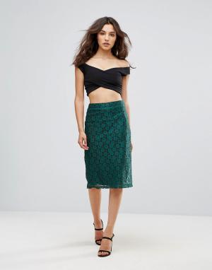 Rage Кружевная юбка-карандаш миди. Цвет: зеленый