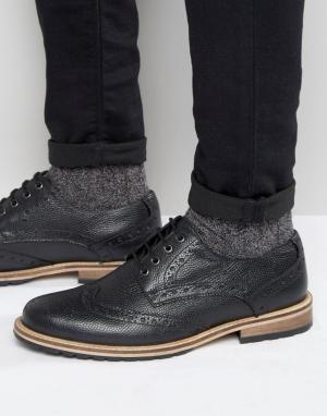 Frank Wright Черные фактурные кожаные броги. Цвет: черный