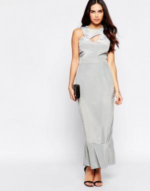 VLabel London Платье с оборкой на подоле Ally. Цвет: серебряный