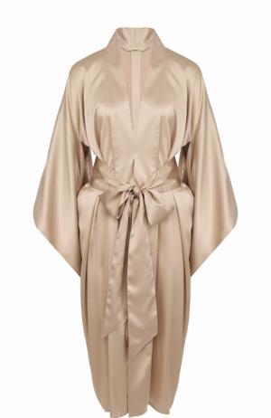 Шелковый однотонный халат с поясом Bordelle. Цвет: бежевый