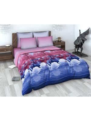 Комплект постельного белья из сатина 1,5 спальный Василиса. Цвет: розовый, белый, синий
