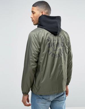 HUF Спортивная куртка с принтом на спине. Цвет: зеленый