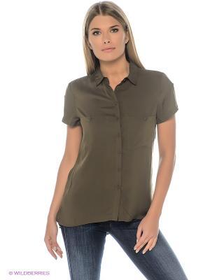 Блузка Oodji. Цвет: оливковый, коричневый