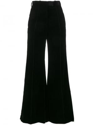Бархатные широкие брюки с завышенной талией Racil. Цвет: чёрный