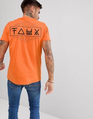 Friend or Faux Футболка с принтом на спине Limitless. Цвет: оранжевый