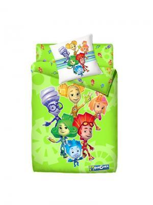 Комплект постельного белья 1.5 фиксики 100% хлопок рис.4039-2 ФИКСИ-Друзья. Цвет: светло-зеленый