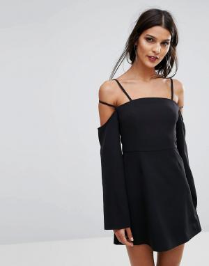 Finders Keepers Платье мини с бретельками Mirror. Цвет: черный