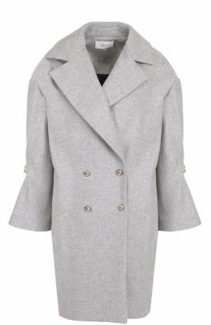 Двубортное шерстяное пальто с укороченным рукавом Carven. Цвет: серый