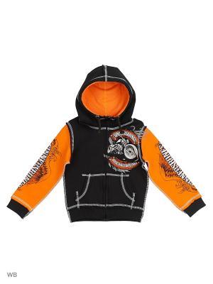 Толстовка Детская Rock Hard Ride Free с капюшоном SINNER's BONES. Цвет: черный, оранжевый
