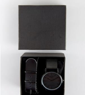 Reclaimed Vintage Черные часы со сменным кожаным и сетчатым ремешком в подарочном наборе. Цвет: черный