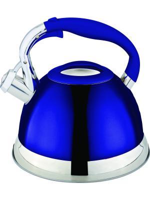 Стильный чайник со свистком 2,7л. RAINSTAHL. Цвет: синий