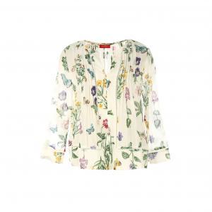 Блузка с V-образным вырезом и длинными рукавами RENE DERHY. Цвет: экрю